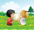 Two teenagers in the hill with an empty book illustration of Royalty Free Stock Images
