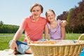 Two teenagers at picnic Stock Image