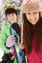 Two Teenagers On Ski Holiday Stock Photos