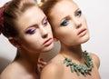Two Tempting Meek Girlfriends in Reverie Royalty Free Stock Photo