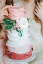Two tender bride girls models in Veil Wedding Dress holding beau