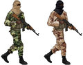 Two terrorists muslim with assault rifles on white background Royalty Free Stock Photos