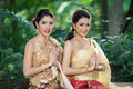 Two thai woman wearing typical thai dress women identity culture of thailand Stock Photo