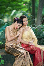 Two thai woman wearing typical thai dress women identity culture of thailand Royalty Free Stock Image
