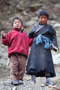 Two tibetan boys nepal poses for a photo in nile village on november in tsum valley gorkha Stock Photo