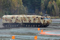 Two tier tracked all terrain vehicle nizhny tagil russia sep the international exhibition of armament military equipment and Stock Photos