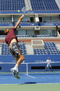 Two times grand slam champion lleyton hewitt and professional tennis player tomas berdych practice for us open new york august at Stock Photography