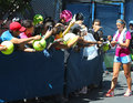 Two times grand slam champion victoria azarenka signing autographs after practice for us open new york august at billie jean king Royalty Free Stock Photo