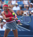 Two times grand slam champion victoria azarenka during third round singles match at us open new york august against alize cornet Royalty Free Stock Images