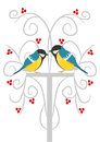 Two tits on the branch Royalty Free Stock Photo