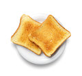 Two toast slices of bread on white background Royalty Free Stock Images