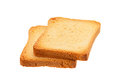 Two toasted bread slice isolated on white background Stock Photography