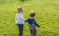 Two toddlers walking hand in hand in grass caucasian a boy and a girl holding hands and away from camera the Stock Photography