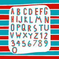 Two tone alphabet red and blue on stripe background vector Royalty Free Stock Images