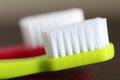 Two toothbrushes colorful macro picture Royalty Free Stock Image