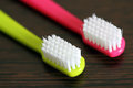 Two toothbrushes colorful macro picture Royalty Free Stock Photo