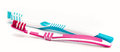 Two toothbrushes on white background closeup Royalty Free Stock Photo