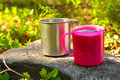 Two touristic cups metal and pink plastic with tea on stone in forest picnic thematic Royalty Free Stock Photography