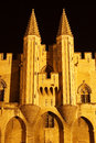 Two tower middle aged pope s palace in avignon at night Stock Photography