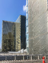 Two towers of the Bibliotheque nationale de France on a sunny summer day Royalty Free Stock Photo