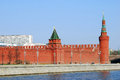 Two towers of moscow kremlin seen from the moscow river embankment moscow kremlin is a unesco world heritage site sunny day sky Royalty Free Stock Photography