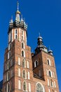 Two towers of st mary s basilica on main market sguare in cracow in poland on blue sky background krakow Royalty Free Stock Photography