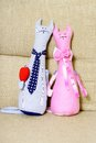 Two toy cat lovers beautiful handmade soft for children Stock Photos