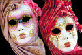 Two traditional venetian mask on a black background browse my galery for similar images Royalty Free Stock Image