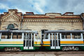 Two trams colourful at depot Royalty Free Stock Photo