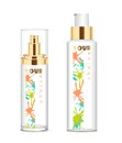 Two transparent cosmetic bottles