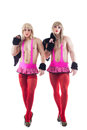 Two transvestites in pink costumes isolated Stock Photo