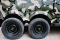 Two twin wheels at military truck jeep car Royalty Free Stock Photo