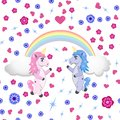Two unicorns under the rainbow on a white background with flowers and hearts