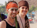 Two unidentified young a man in carnival costumes at the annual festival of freaks arambol beach goa india february Royalty Free Stock Photo