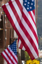 Two USA flags in a street Royalty Free Stock Image