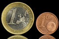 Two used coin - one euro and one eurocent Stock Photos
