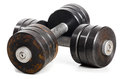 Two used metal barbells Royalty Free Stock Photo