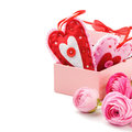 Two valentine hearts in gift box with pink peonies Stock Photo