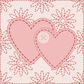 Two valentines sewed button illustration Royalty Free Stock Photography