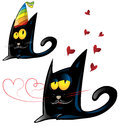 Two variant of black cat cartoon party and valentine s day Stock Photos