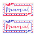 Two vector banner for Memorial Day. Decorations with stars, lettering and frame for USA Memorial Day.