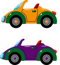 Two vector cars over white Royalty Free Stock Photos