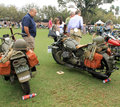 Two vintage american military motorcycles restored classic historic next to each other focus on right motorcycle indian u s army Stock Photography
