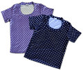 Two vintage cotton t shirts a pois with dot pattern dark blue and pastel lavender isolated on white Royalty Free Stock Images