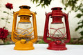 Two vintage oil lamps Royalty Free Stock Photography
