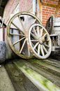 Two wagon wheels vintage and retro farm objects Royalty Free Stock Photography