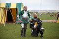 Two warriors at celtic festival men in costume the rio grande valley in albuquerque nm Stock Photography