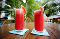Two water melon glasses Royalty Free Stock Photo