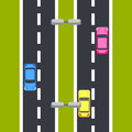 Two way roadway vector illustration top view.
