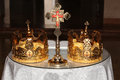 Two wedding crowns church altar orthodox wedding accessories Royalty Free Stock Image